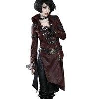 Готический крест кожаный длинный Тренч панк пэчворк красный женский пиджак воротник стойка зимние ветровые пальто
