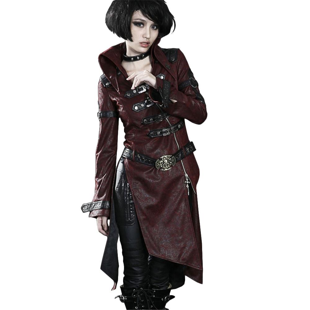 Lungo Cappotto di Trincea di Cuoio Croce gotica Punk Patchwork Rosso Donne Giacca Stand collare Inverno Vento Cappotti-in Pelle e scamosciato da Abbigliamento da donna su  Gruppo 1