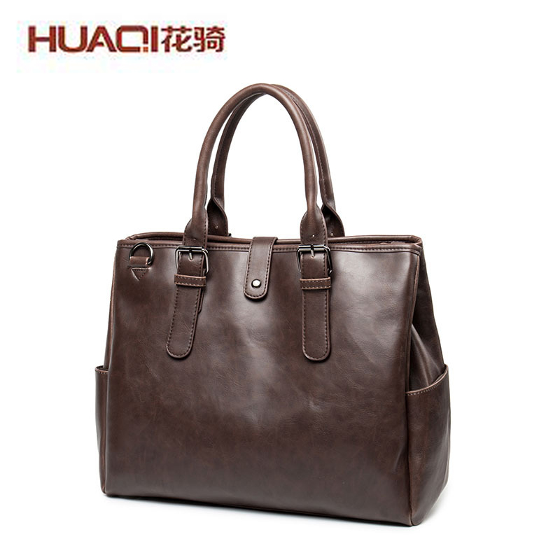 2017 New Arrival Men Casual Business Shoulder Bag Vintage Designers PU Leather Khaki Big Laptop Handbags Luxury Brand HQ9818