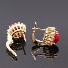 Gzjy nueva moda coral rojo Rock AAA cubic ZIRCON Champagne oro color flor Pendientes anillo joyería conjunto para las mujeres