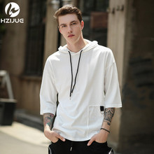 HZIJUE 2017 summer men tshirt high street brand t-shirts Five points sleeve with hat tops patchwork Personality loose male Tees