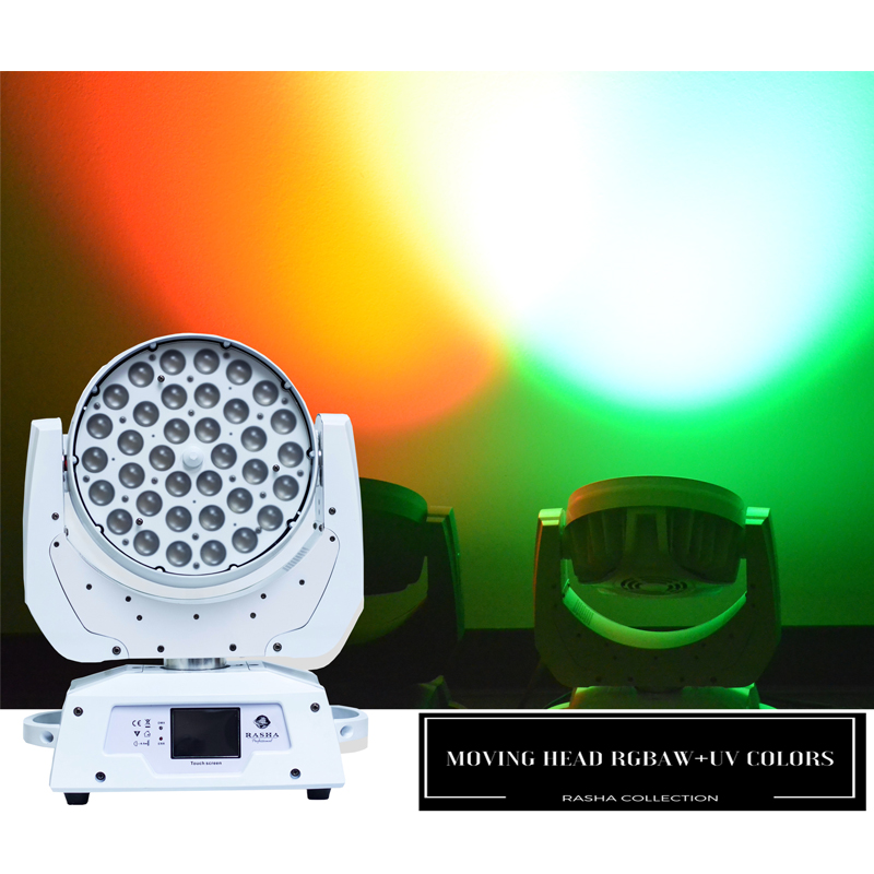 UK Warehouse (Pack of 2) Rasha Stage Light 36*18W 6in1 RGBAW UV ZOOM LED Moving Head Wash Light With DMX Tax Free to EU Country