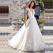 Vestido דה Noiva אלגנטי קו שמלות כלה ללא שרוולים כלה שמלות מלא תחרה אפליקציות תפור לפי מידה כלה שמלות