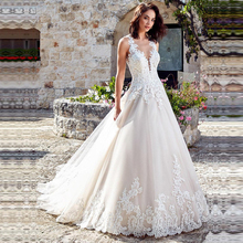Vestido de Noiva elegancka linia suknia ślubna bez rękawów suknie ślubne pełne koronkowe aplikacje wykonane na zamówienie panny młodej