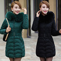 Fox Fur Hooded Parkas Duck Down Winter Women Coat 2016 New Brand Tunic Belt Wave Print Warm Thick Long Overcoat Jacket ZL3478