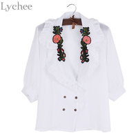 Lychee Vintage Spring Summer Women Blouse Floral Embroidery Turn Down Collar Lantern Sleeve Shirt Tops