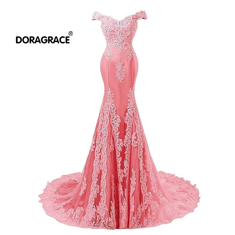 Doragrace Glamorous Off Shoulder Floor Length Applique Mermaid Evening Dresses Long Prom Gowns in Evening Dresses from Weddings Events