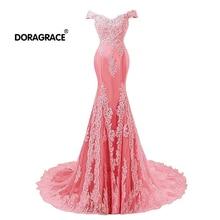 Doragrace Glamorous Off-Shoulder Floor-Length Applique Mermaid Evening Dresses Long Prom Gowns