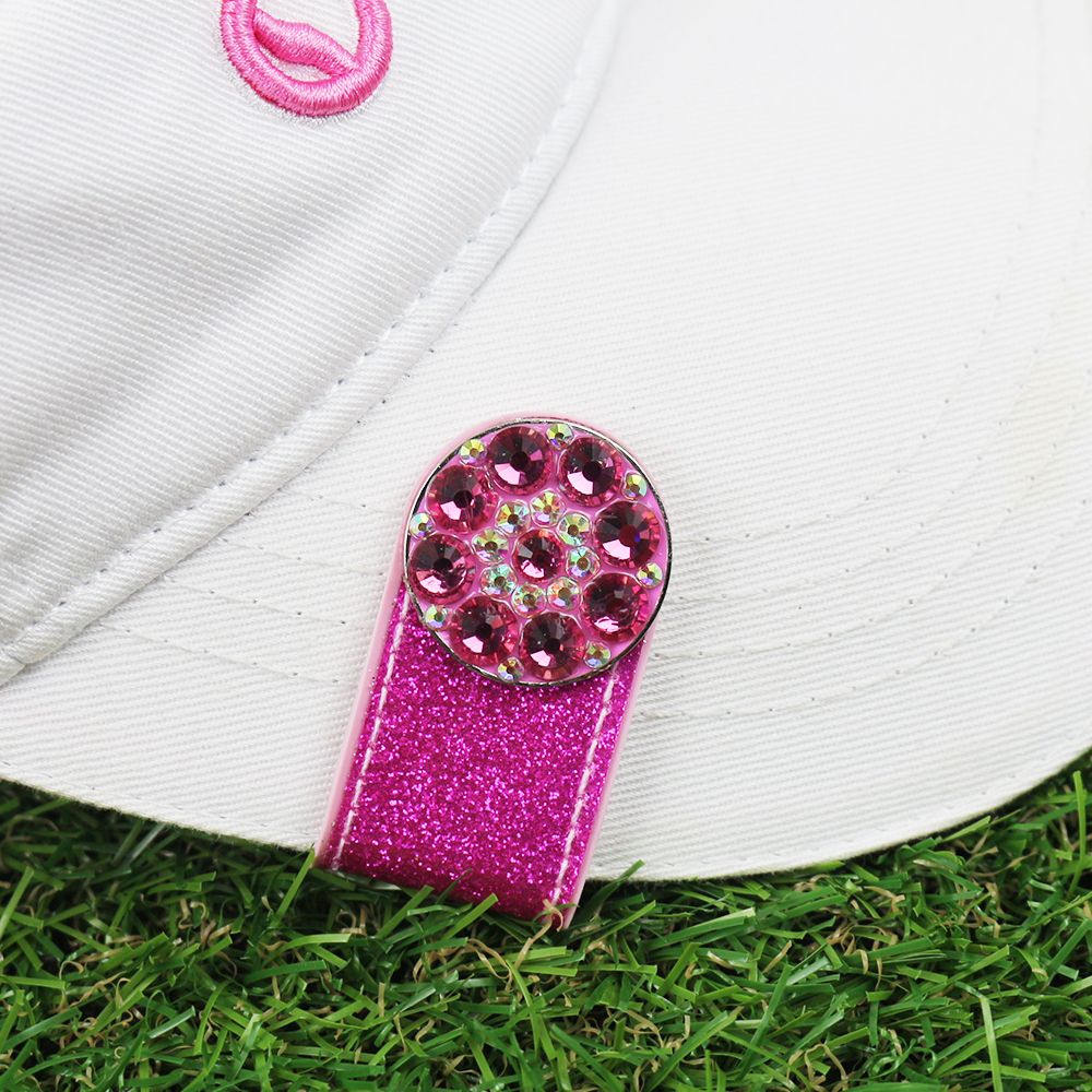 PINMEI Glittering PVC Magnetic Golf Hat Clip Balll Mark Sets Crystal Golf Marker With Cap Clip Accessory Gifts For Lady Children
