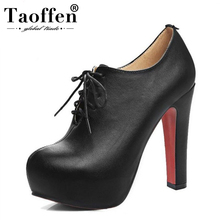 TAOFFEN Plus Size 34-48 Women Pumps High Heel Shoes Lace Up PU Leather Shoes Women Platforms Autmun Party Shoes Prom Footwear