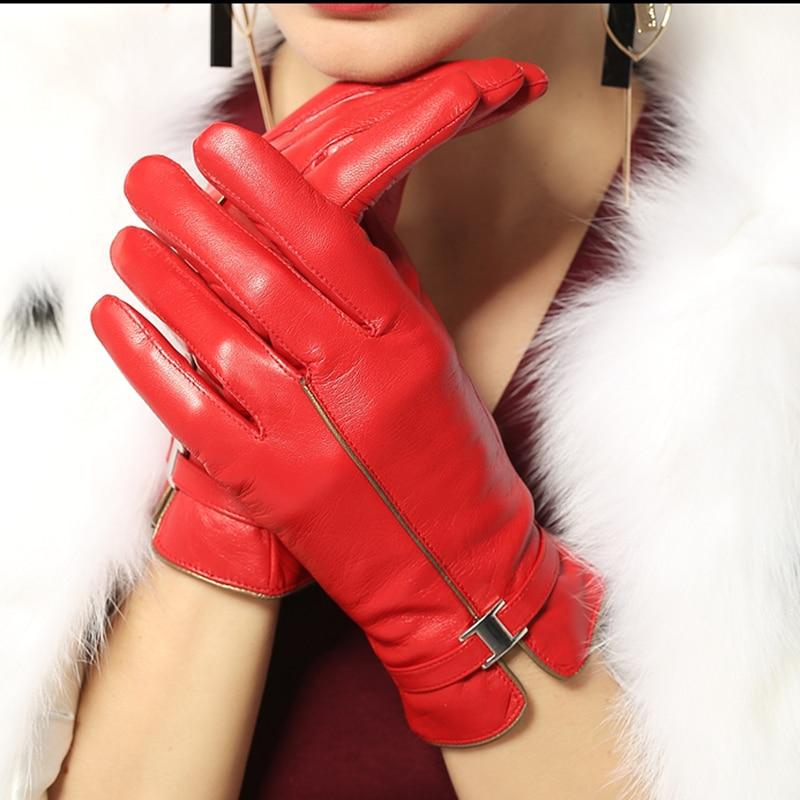 женские кожаные перчатки сенсорные перчатки перчатки для телефона модные зимние перчатки из натуральной кожи качественные рукавицы женск...