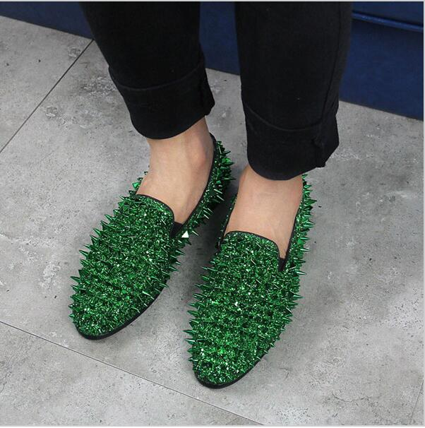 2017 Hot Sale Men Wedding Party Shoes Luxury Design Spikes Studded Glitter  Fashion Men Loafers Square Toe Flat Casual Shoes bfefaf7b2f50