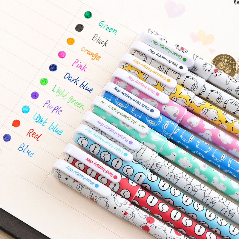 10pcs/set Cute Baymax Colored Gel Pen For School Kawaii Galaxy Pen For Writing Funny School Supplies Korean Stationery 10pcs multicolor gel pens set cute korean stationery pen for school office supplies writing with packaged box by free shipping