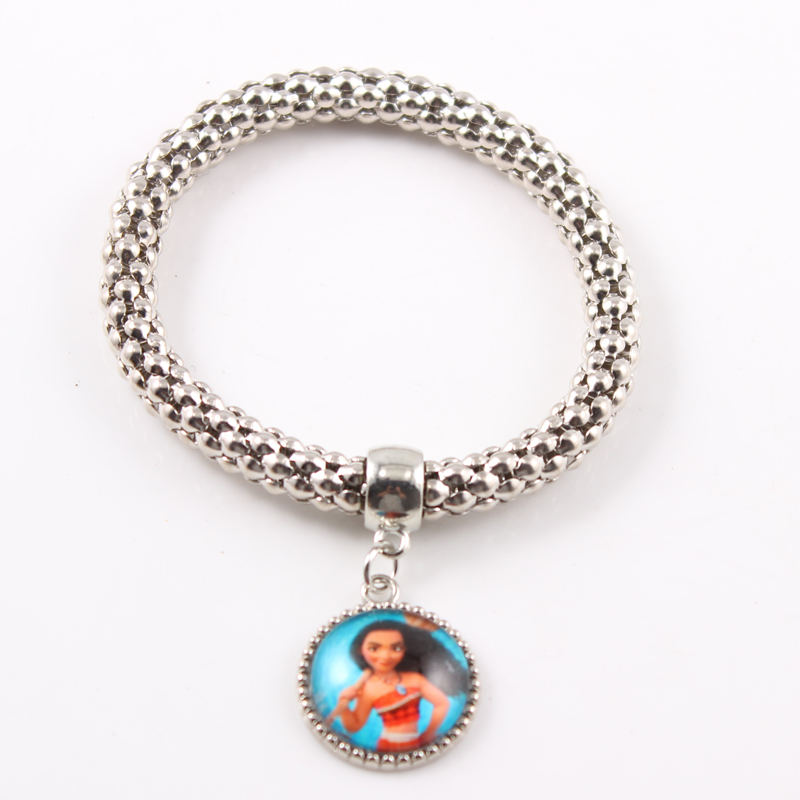 Anime Movie Princess Moana Figures Charm Bracelet 18MM Glass Cabochons Easticity Bangle For Childrens Day 2017 Best Gifts