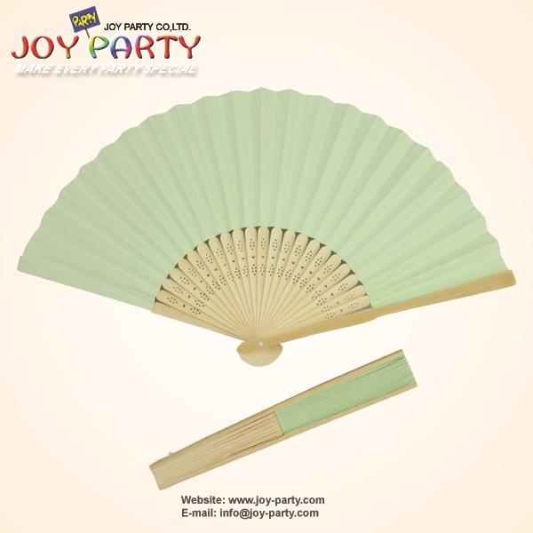 10 kosov / lot 21 cm metala zelena barva papir ročni ventilator poročna dekoracija za promocijo darila
