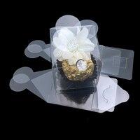 50 Części/partia Jasne Kwadratowych Wedding Favor Pudełko Przezroczyste Party Imprezy Płatek Bombonierek Słodki Cukierek Ulubiony Holder