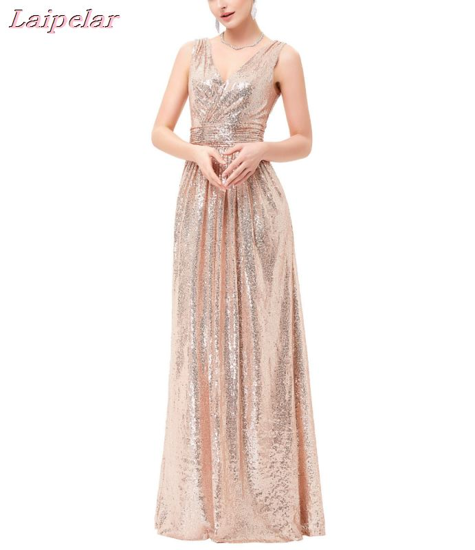 Luxury Gold Silver Long Sequin Dress Double V Neck Cheap Gowns Sleeveless Prom Party Formal Dresses