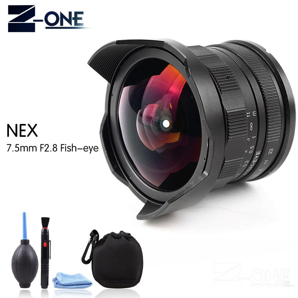 Nouveau 7.5mm F2.8 Fisheye Manuel Fish Eye Objectif pour Sony NEX-F3 NEX-5 NEX-6 NEX-7 A6500 A6300 A6000 A5000 A5100 Caméra lentille