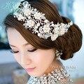 Aleación importado plateado cristalino de la perla nupcial tiara tocado joyería pelo accesorio del pelo de la boda para las novias