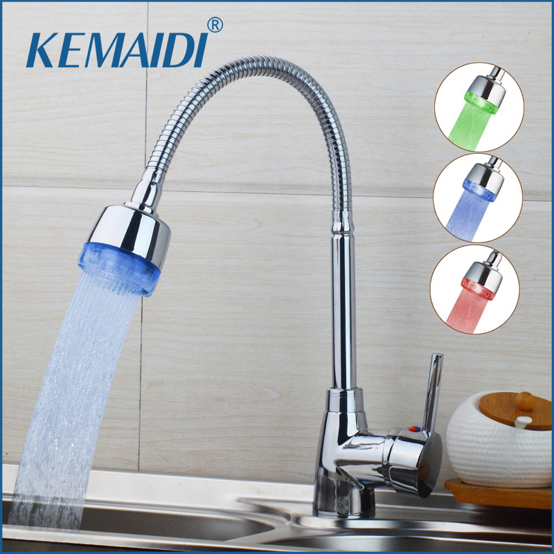 KEMAIDI LED Fashionable In Design And Superb In Workmanship Kitchen Faucet 360 Degree Swivel Hot Cold Water Mixer Kitchen Faucet