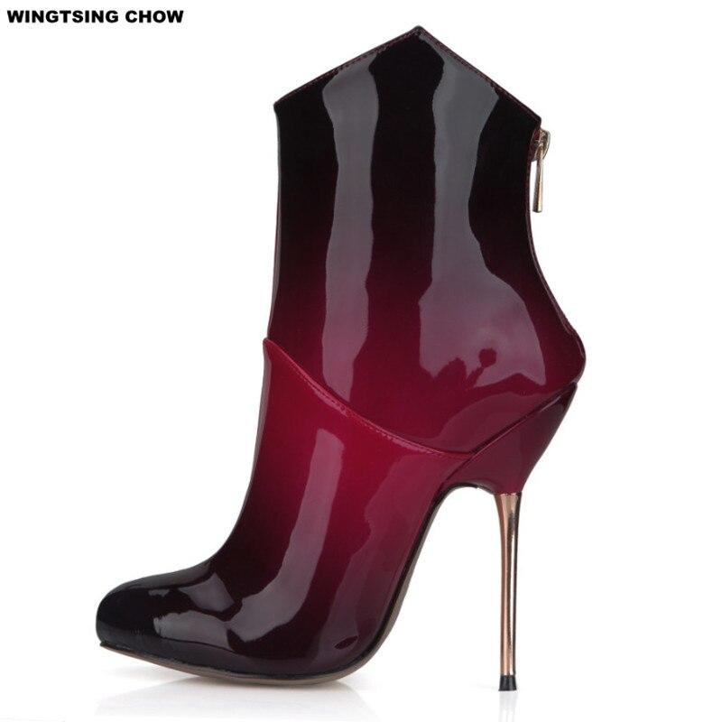 Plus Size 43 Patent Leather Shoes Woman Ankle Boots High Heel Pump Autumn Short Boots Women Shoes Sexy High Riding Boots women sexy high heel ankle boots with lock lace up patent leather boots autumn short boots wedding shoes women botas size 36 46