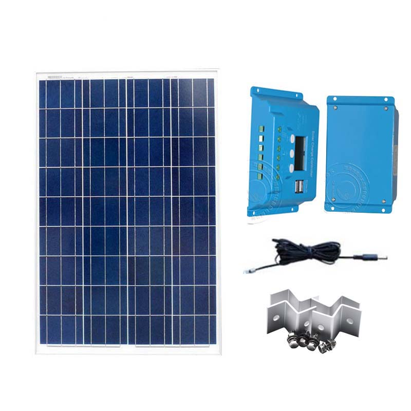 Kit <font><b>Solar</b></font> <font><b>Panel</b></font> <font><b>100</b></font> <font><b>Watt</b></font> 12 Voltage <font><b>Solar</b></font> Charge Controller 10A 12V/24V USB PV Cable Z Bracket <font><b>Solar</b></font> Batteries For Home image