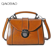 QIAOBAO 2017 100% Rindsleder Handtaschen Berühmte Echter Lederner Beutel Schulter Messenger Bag Lady Flap Tasche