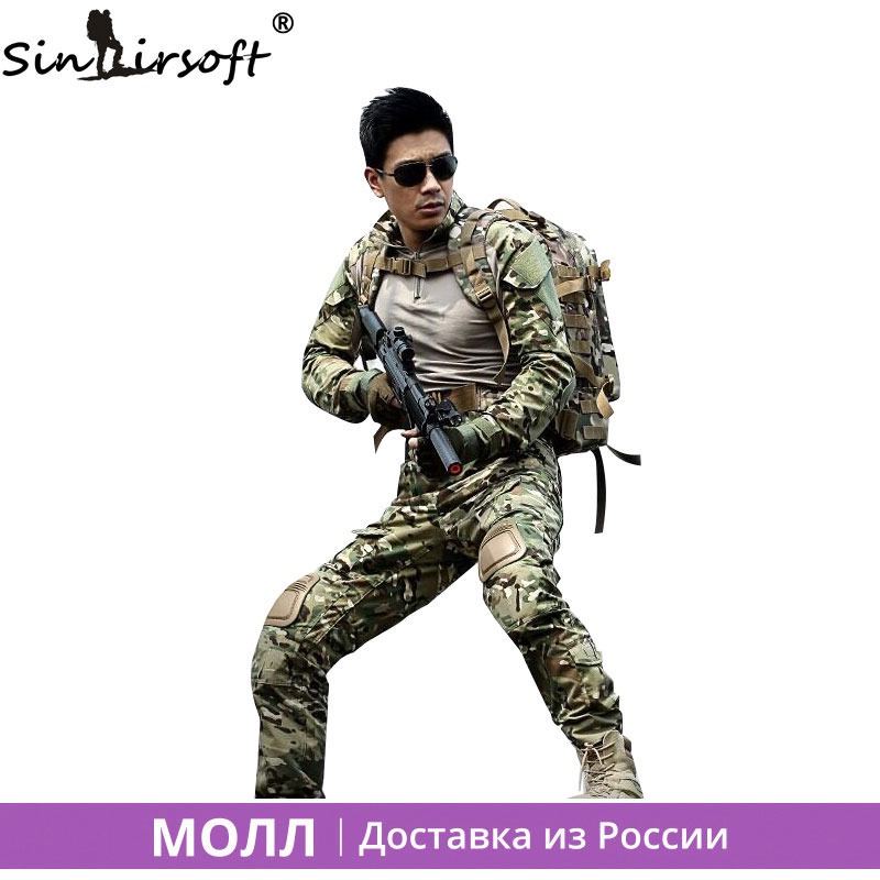 ФОТО SINAIRSOFT Military Uniform Multicam Army Combat Shirt Uniform Tactical Pants With Knee Pads Camouflage Suit Hunting Clothes
