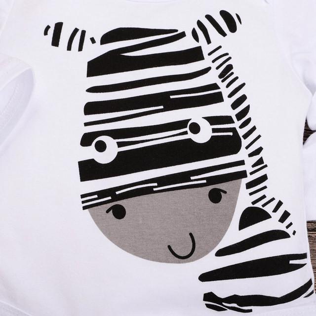3Pcs Cute Newborn Baby Boy Clothes Infant Clothing Set Zebra Print Romper Pants Hat Toddler Boys Clothing Set Winter Baby Outfit