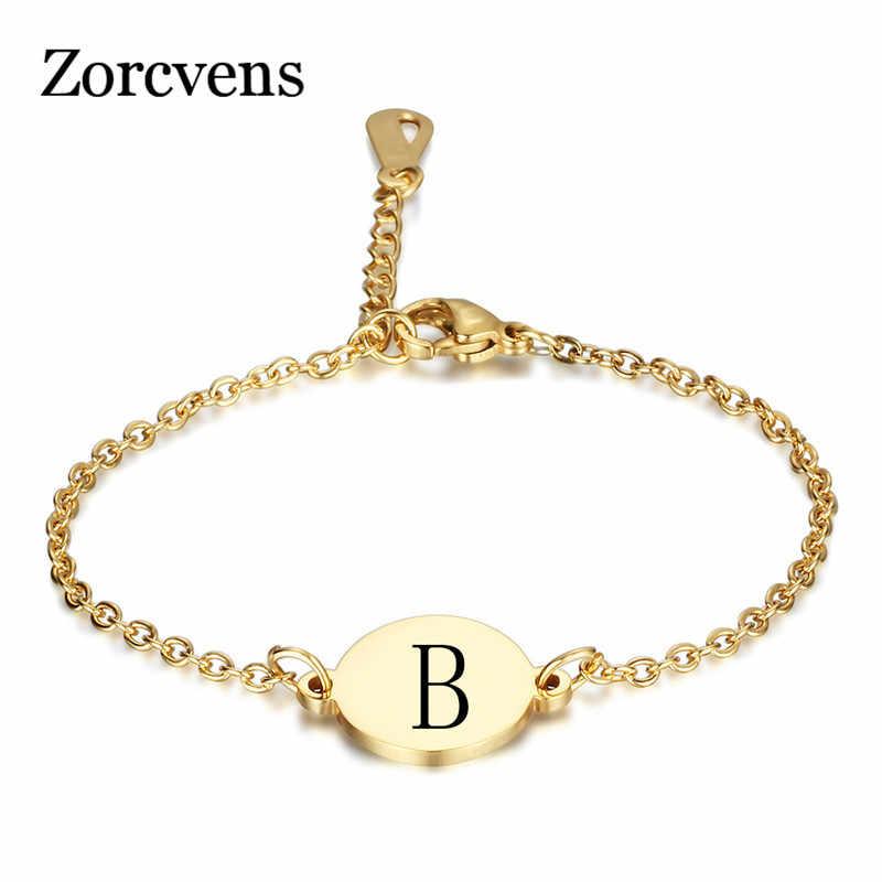 ZORCVENS ใหม่ Gold สีสแตนเลส 26 ตัวอักษรสร้อยข้อมือผู้หญิงผู้ชายตัวอักษรเครื่องประดับ