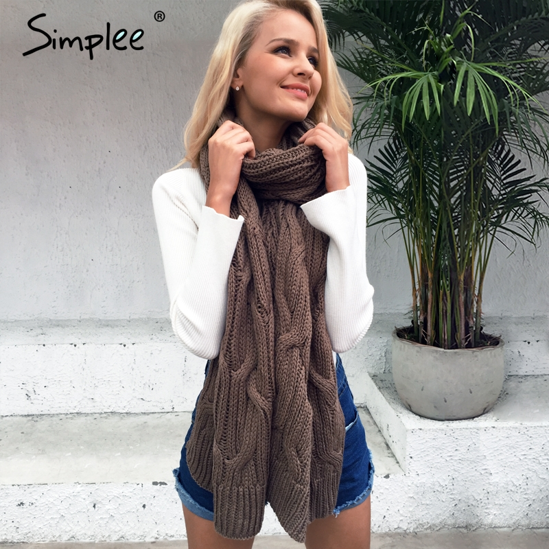 Simplee 따뜻한 긴 얼굴 방패 니트 여성 스카프 겨울 2017 고품질의 부드러운 파시미나 패션 가을 수제 카키 숄