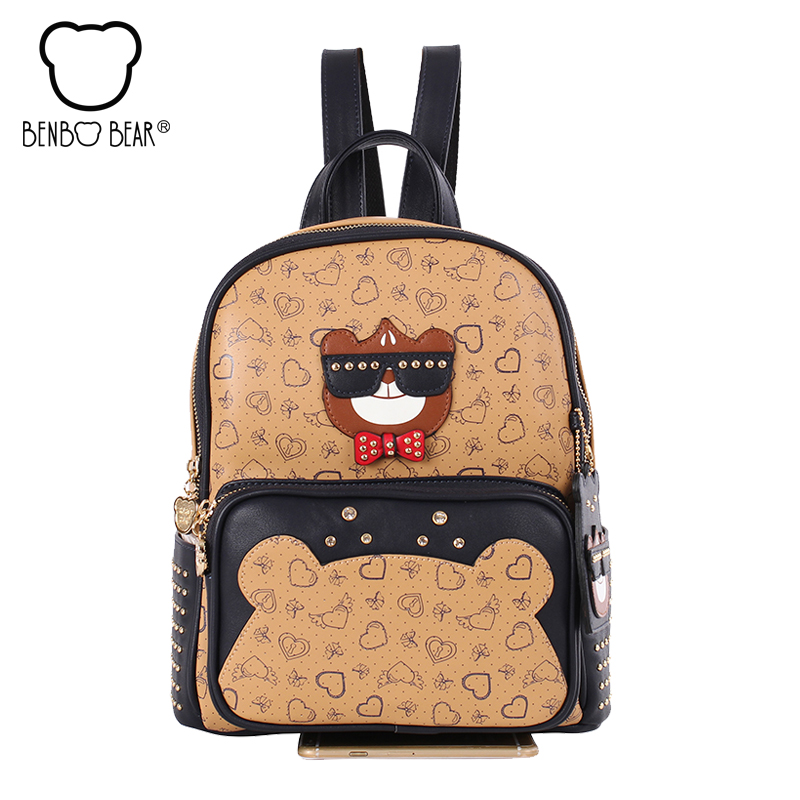 Benbo bear Fashion College Wind Schoolbag for Girl High Quality PU Leather School Book Shoulder Bag