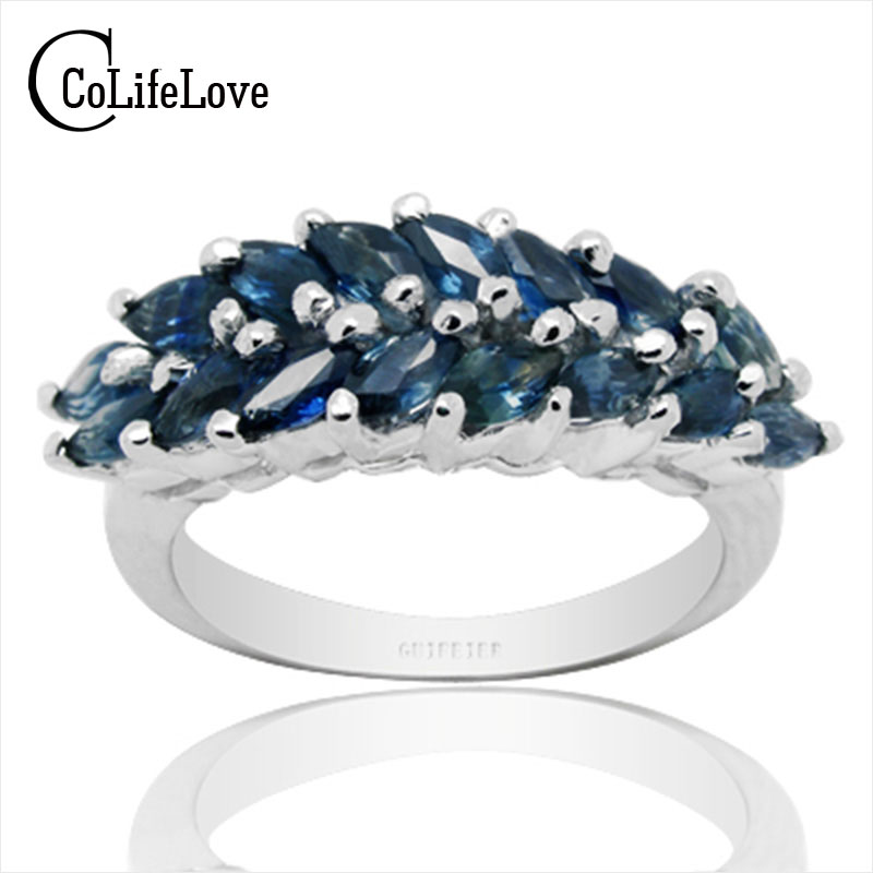 Luxurious sapphire ring for man 2 CT natural dark bule sapphire stone king's stone 925 silver ring man's ring