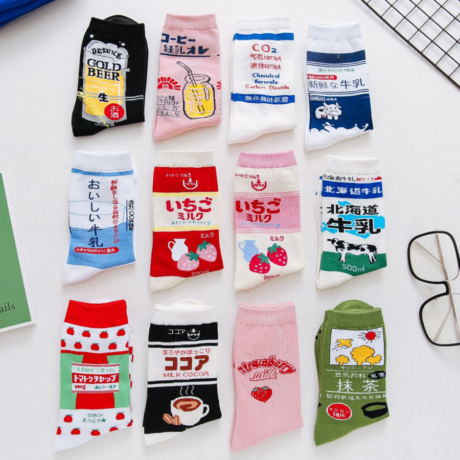 Japanese Harajuku Cute Milk White Pink Funny Socks Strawberry Jacquard Fruit Juice Meias Kawaii Socks Women Skarpetki Sokken