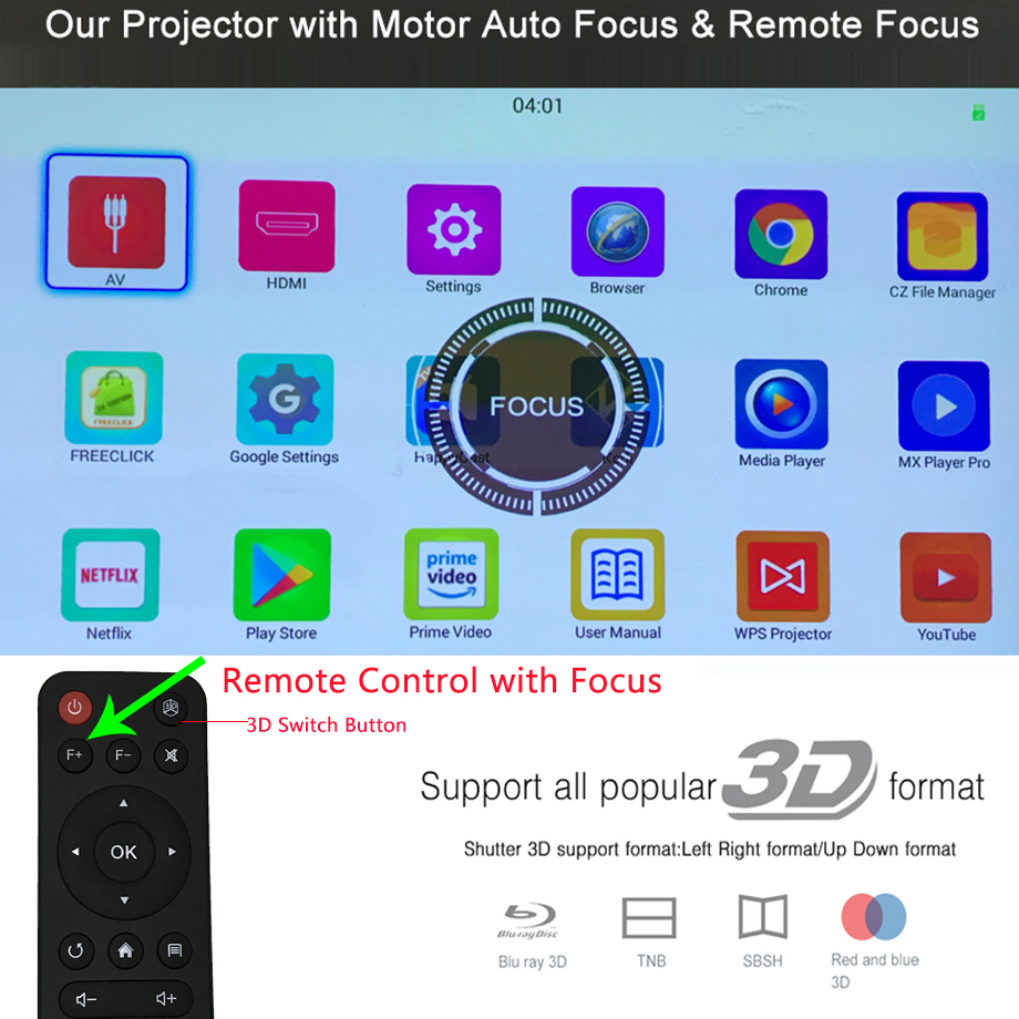 Image 2 - Smartldea T5 HD 4K Real 3D DLP Projector Battery with Zoom, Auto Keystone,Android 6.0 WiFi LED Smart Proyector Bluetooth Airplay-in LCD Projectors from Consumer Electronics