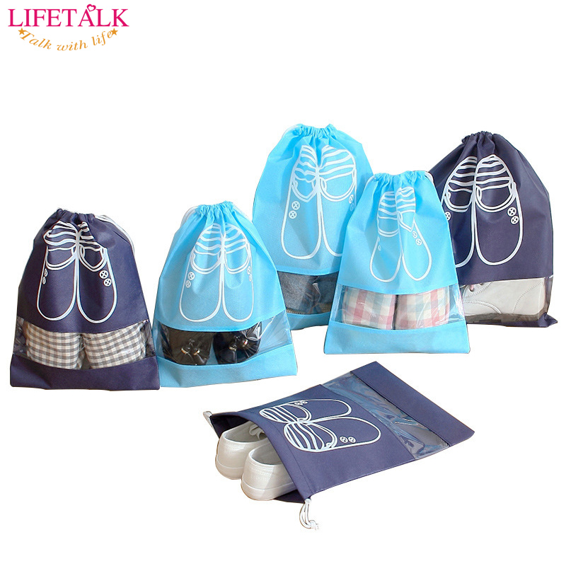 10PCS / SET Non-Woven Home Folding Shoes Organisation Sundries Förvaringsväska Travel Shoes Förvaring Drawstring Bag Set