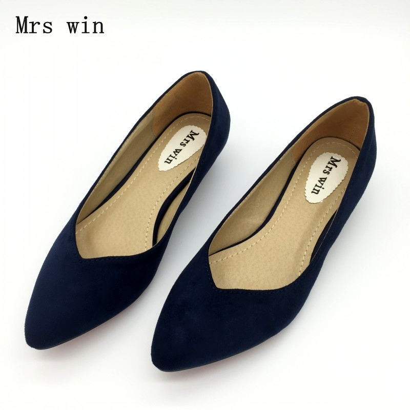 Spring Autumn Fashion Brand Shoes Women Pointed toe Flock Slip On Shallow Mouth Pumps Shoes Ladies Low Heel Single Shoes memunia 2017 fashion flock spring autumn single shoes women flats shoes solid pointed toe college style big size 34 47