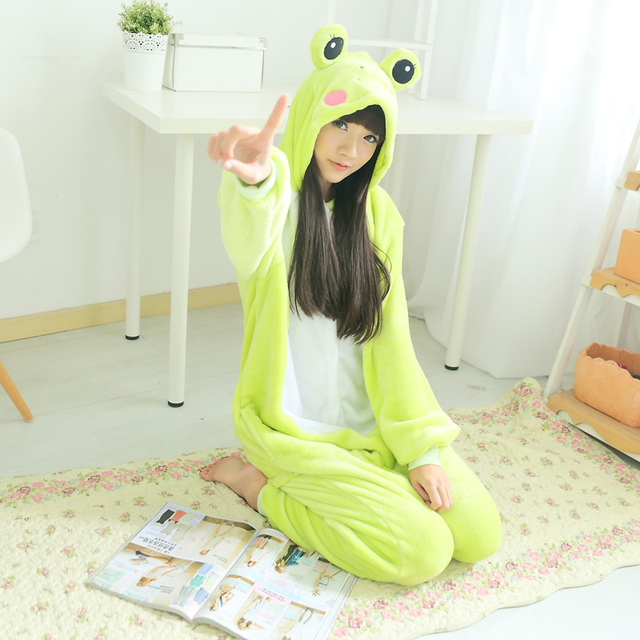 c52146f4159 Flannel Frog Kigurumi Animal Men Green Onesie Jumpsuit Adult Carnival  Pajamas For Women Suit Sleepwear Halloween Cosplay Party