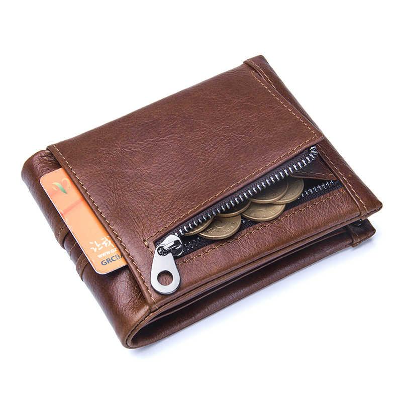 Couro genuíno dos homens carteira nova moda capa de couro moeda bolsa para o titular do cartão masculino bifold bolsas curtas multifunções