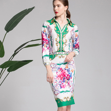2019 Spring Print Women Sets High Quality Fashion Full Sleeve Turn-down Collar Shirts +Knee Length Skirts Female Slim Suits