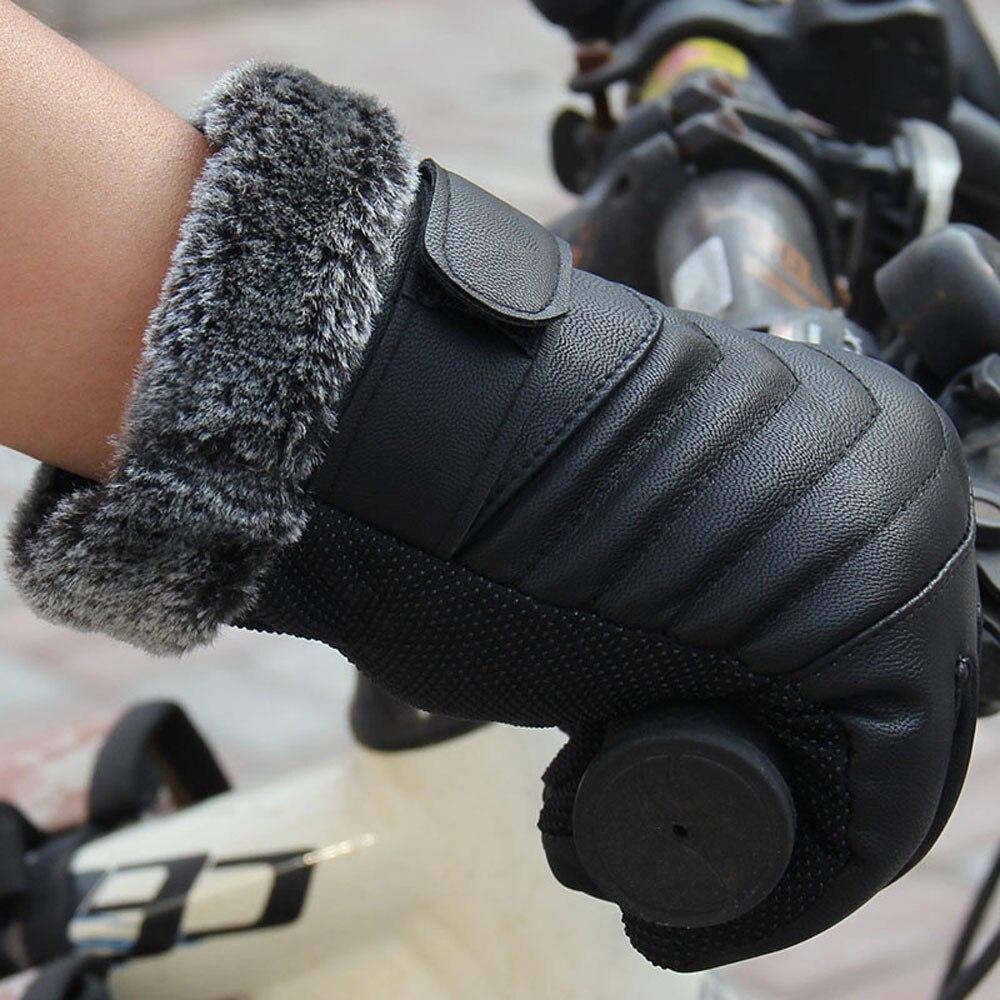 Gant mens leather gloves - Men Mittens Gloves 2017 Hot Sale Artificial Leather Anti Slip Men Thermal Winter Leather Gants Tactile
