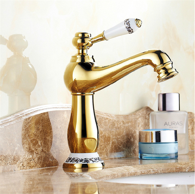 Free Shipping High End Gold Bathroom Faucet With Blue And White Porcelain Copper Golen Basin Sink Mixer Taps Luxury Tap