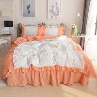 Восточный стиль хлопок кружево оборками для девочек постельных принадлежностей Твин двуспальная кровать одеяло постельное белье кровать