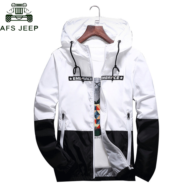 DropShipping Wholesale Spring Autumn Bomber Hooded Jacket Men Casual Slim Patchwork Zipper Thin Windbreaker Jacket Male Outwear