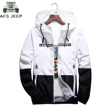 DropShipping Wholesale Spring Autumn Bomber Hooded Jacket Men Casual Slim Patchw