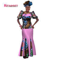 2018 Bazin Riche African Print Summer Clothing 2 Piece Set with Headtie Women African Crop Top Long Tradition Skirt Set WY157