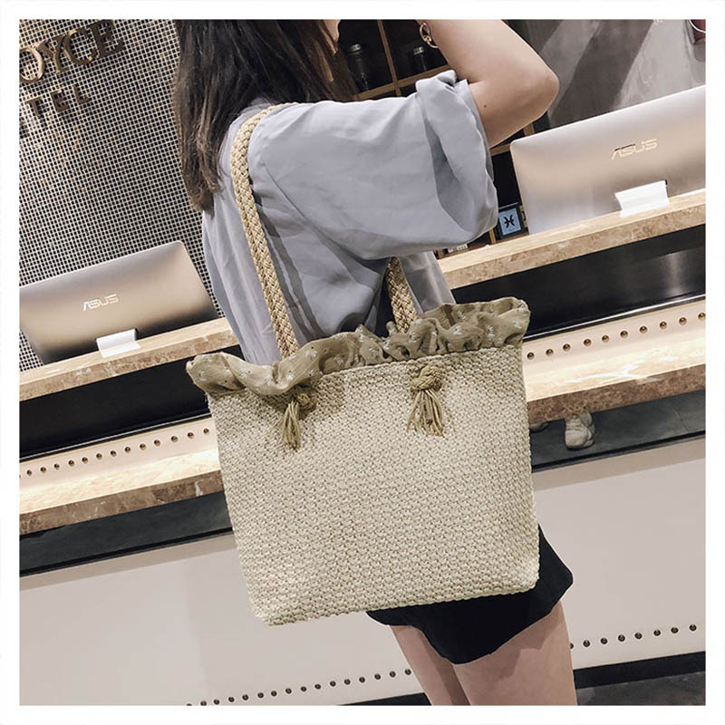 Casual Women Rope Handbags Female Shoulder Straw Bags Large Beach Tote Travel Ladies Crossbody Bag Woven Shopping Bag Bolsa W426 brand designer large capacity ladies brown black beige casual tote shoulder bag handbags for women lady female bolsa feminina