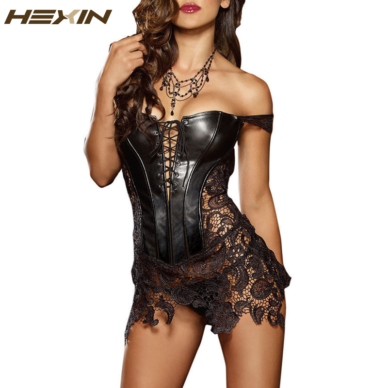 HEXIN Club Dress Women Sexy Clubwear Plus Size Bandage Hollow Out Leather Corset Dress Lace Embroidery