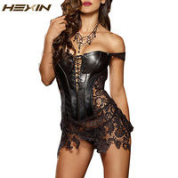 HEXIN Club Dress Women Sexy Clubwear Plus Size Bandage Hollow Out Leather Corset Dress Lace Embroidery Zip Back Dresses 6XL