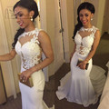 Robe de Soiree Sexy White Mermaid Formal Evening Gowns Lace Prom Dresses Cheap Long Evening Party Dress Sweep Train 2017